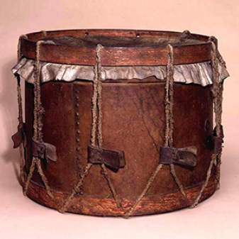 Confederate Drum, 1863, wood and leather, 12.5 in. high, 16.75 in. diameter. Gift of the heirs of Frank W. Taylor and Mrs. W.W. Harrell, 1951