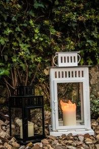 lanterns flowerbed