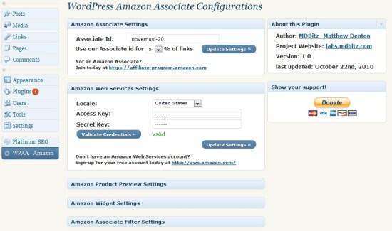 Admin Panel of WPAA - Amazon plugin