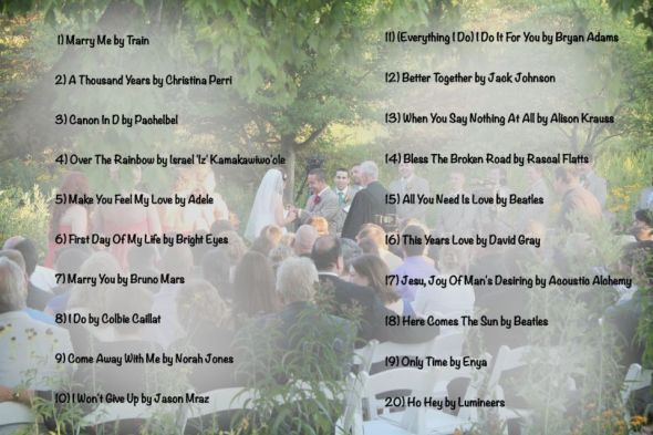 Creating The Sound Track For Your Wedding Part Two Wedding Music List