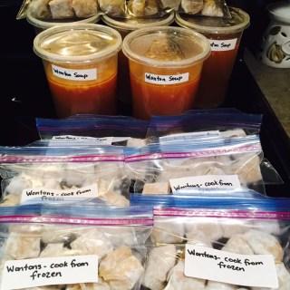 Wonton soup and wontons displayed
