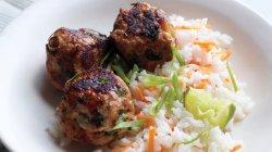 Charmful Noodles Asian Turkey Meatballs Carrot Rice Asian Turkey Meatballs Recipe Asian Turkey Meatballs