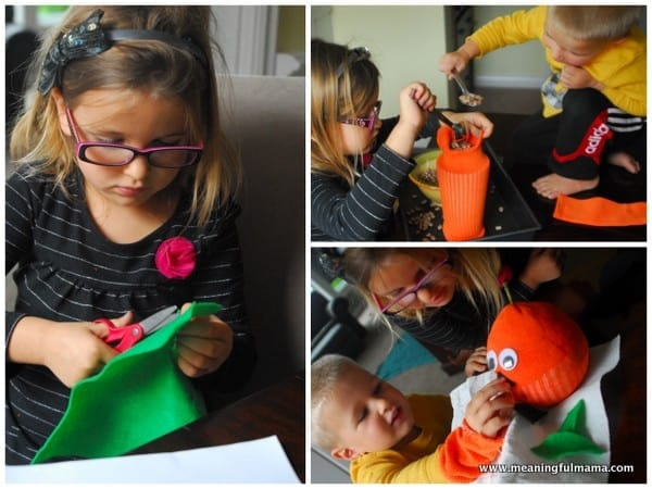 1-#pumpkin craft #jack-o-lantern #preschool #sock