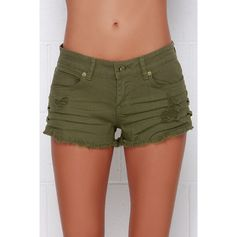 Billabong Lite Hearted Distressed Olive Green Cutoff Shorts ($50) ❤ liked on Polyvore