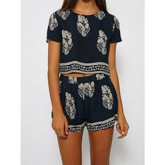 SheIn(sheinside) Navy Short Sleeve Leaves Print Crop Top With Shorts ($15) ❤ liked on Polyvore
