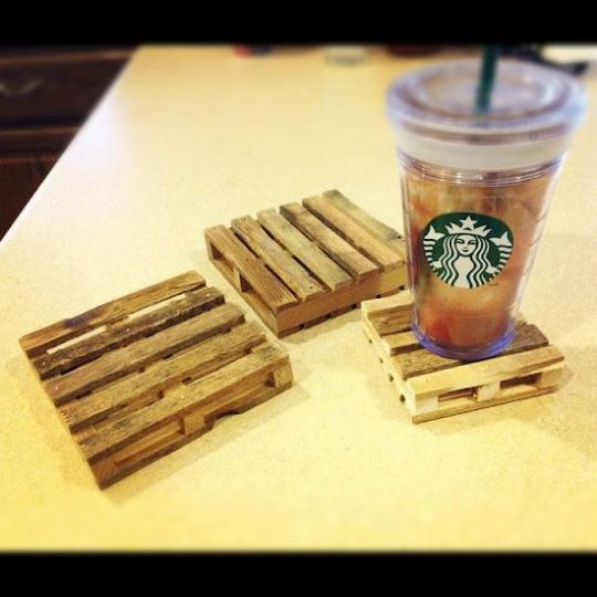 Popsicle sticks & hot glue gun - mini pallet coasters! These are the cutest