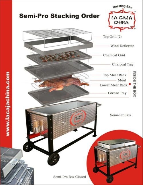 La Caja China Semi-Pro Tray Stacking instructions, and the Ash Disposal Unit assembly instructions.