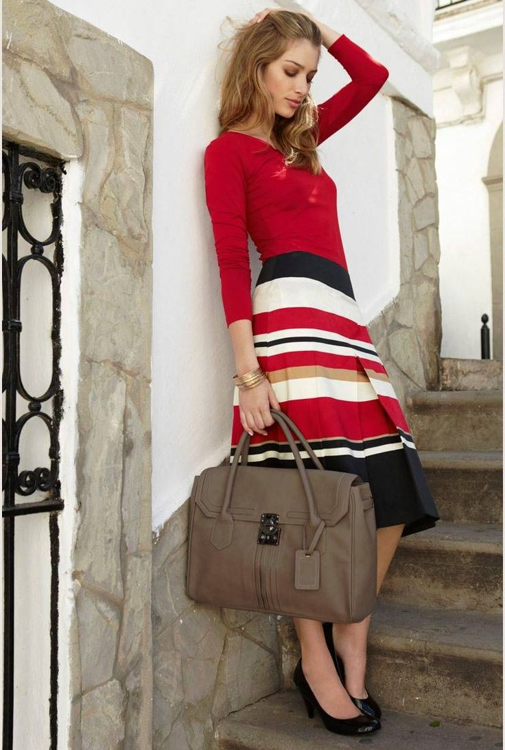 how to wear stripes - red top / blouse, white red black striped skirt