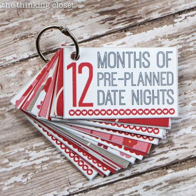 12 Months of Pre-Planned Date Nights: Creative Gift Idea with FREE Printable from thinkingcloset.com #yearofcelebrations