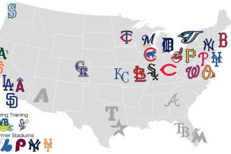 map of major league baseball teams. | maps of the united