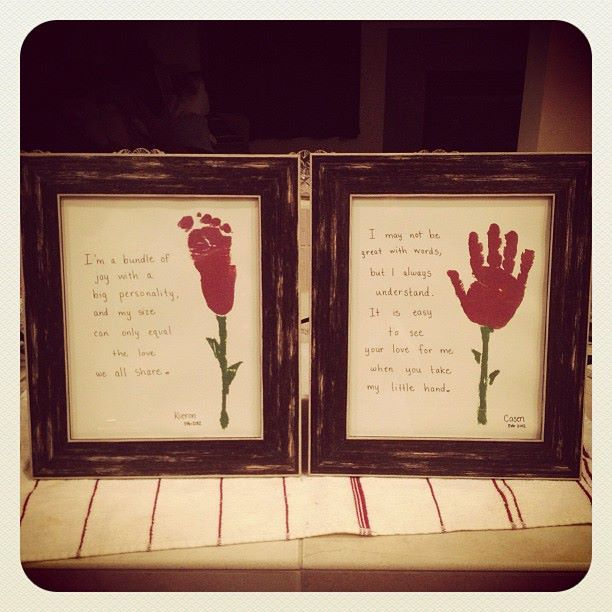 Valentines day roses from hand  foot prints - Valentines day gifts for gparents