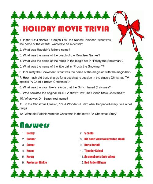 It is a photo of Bright Christmas Movie Trivia Printable