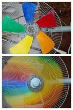 Paint each blade of a window or tabletop fan a different color of the rainbow... neat idea for kids. Daily update on my site: iliketodecorate.com