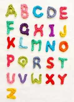 Free crochet pattern: Alphabet. #free #crochet #pattern #crochetpattern Use your left-over yarns of assorted colors to make these colorful alphabets, they are quick, easy - and fun, be creative and play with the ...