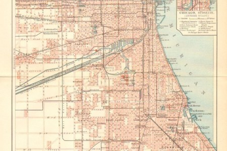 1903 antique city map of chicago, north america, united states