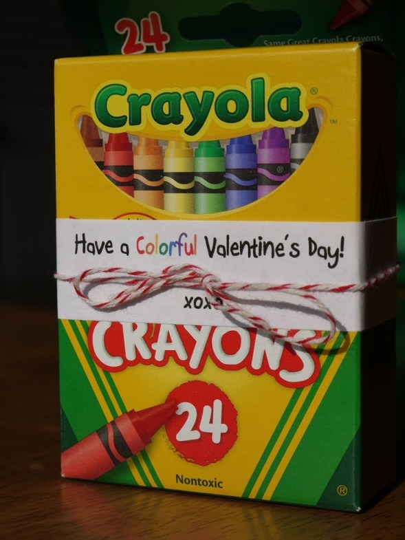 Another way to do Valentines with a little more FUN!!! Buy the crayons during the back to school sales and get them for $.25 -$.35!!!
