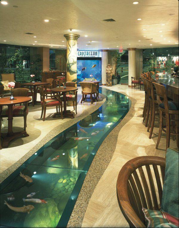 Custom 6000 gallon floor aquarium with attached 500 gallon saltwater