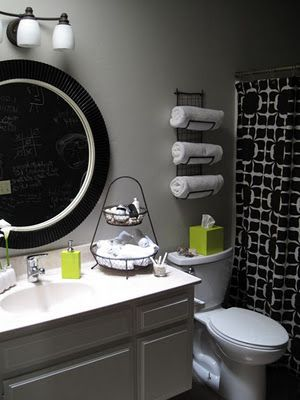 Towel storage for small bathroom love the pop of green in for Green and black bathroom ideas
