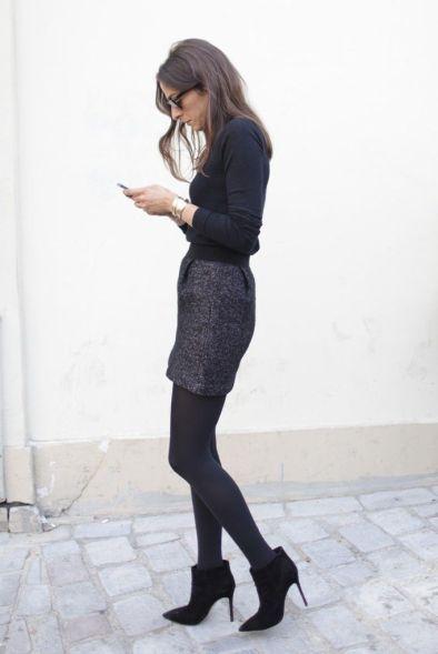 booties, wool skirt, black top