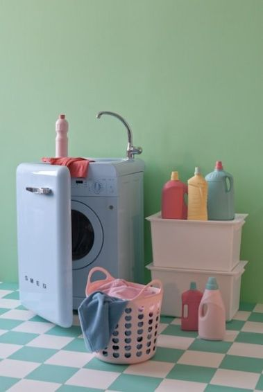 smeg washing machine - smeg you so smart, putting the sink with the washing machine, and so pretty is pastel too