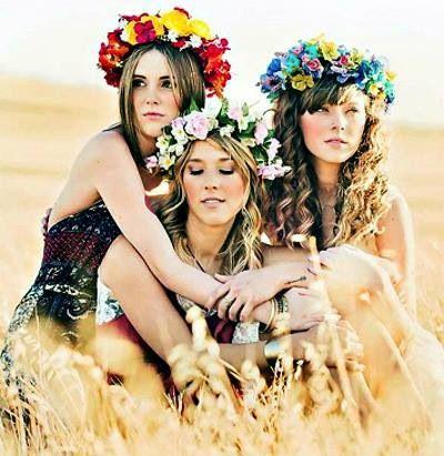 floral wreaths in hair
