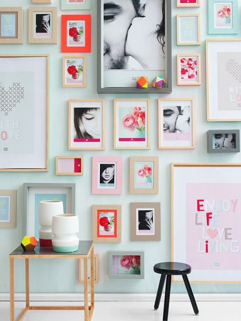 Home Decor Style and Personality Entryway Wall Art in Colorful Hallway with Photographs