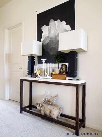 diy console table, industrial console table