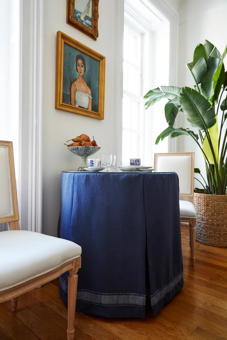 Beautiful A Blue Skirted Table Serves As Main Which Could Be Pulledout Small Living Room Ideas That Will Maximize Your Space Find My Home Design Style home decor Find My Home Design Style
