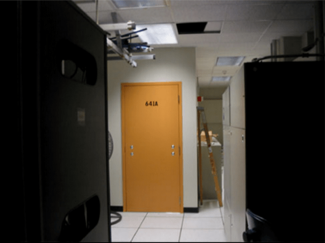 Klein's photo of a secret room in an AT&T switching center in San Francisco, which he said contained data-mining equipment  to forward internet traffic to the NSA.