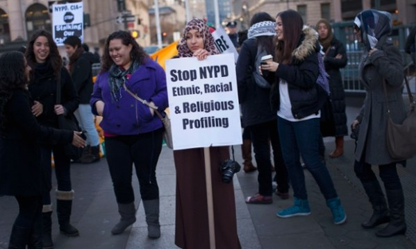 Muslim-Americans protesting NYPD surveillance. Image: Reuters