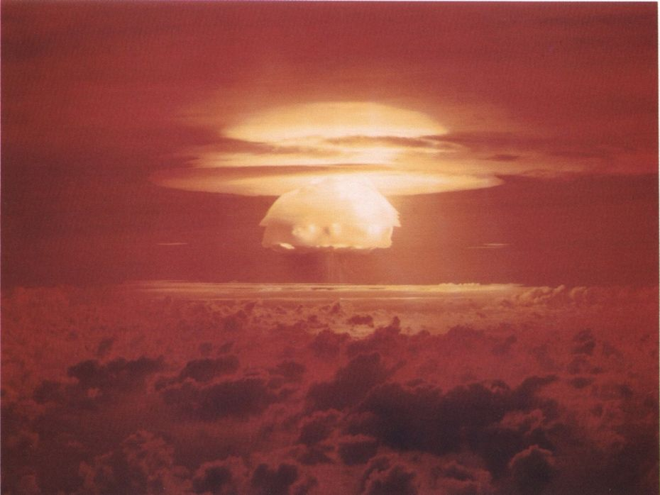 Nuclear weapon test Bravo (yield 15 Megatons) on Bikini Atoll. The test was part of the Operation Castle. The Bravo event was an experimental thermonuclear device surface event.
