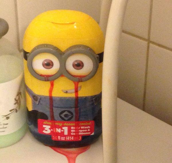Minions soap bottle appears to be crying tears of blood