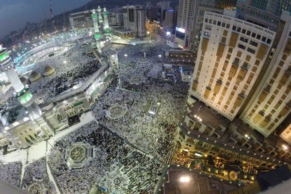 Muslim pilgrims pray around the holy Kaaba at the Grand Mosque