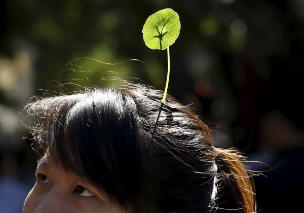 A woman wearing a sprout in Beijing, Sep. 25, 2015.  Reuters.
