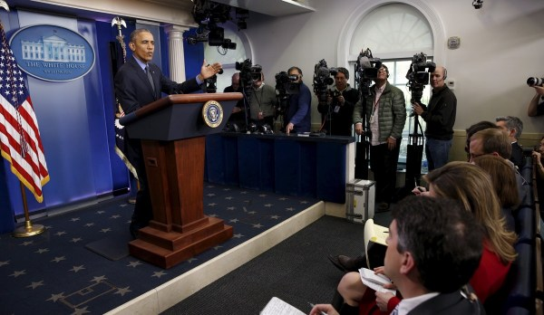President Obama holds his end of 2015 news conference at the White House, Dec. 18, 2015.    REUTERS