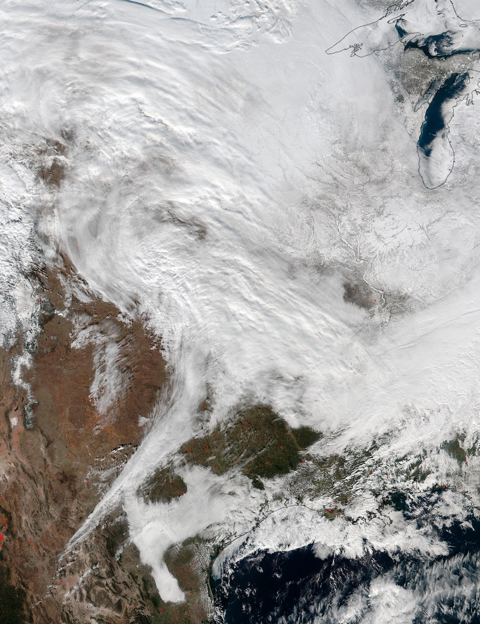 A large winter storm expected to bring heavy snowfall to the U.S. Mid-Atlantic on Jan. 22 and 23 in a Jan. 20, 2016 NASA photo.