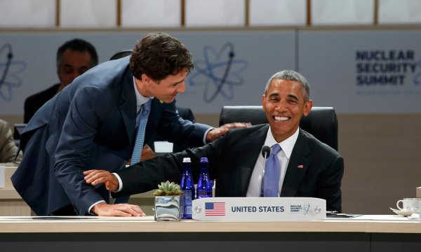 Just two BFFs discussing nuclear security at this week's summit. Photograph: Kevin Lamarque/Reuters