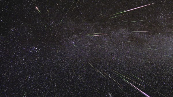 Perseid meteors light up the sky in August 2009 in this time-lapse image  [NASA-JPL]