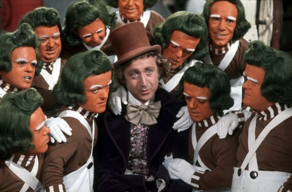 "Gene Wilder with Oompa Loompas in ""Willy Wonka and the Chocolate Factory."" [Paramount Pictures]"
