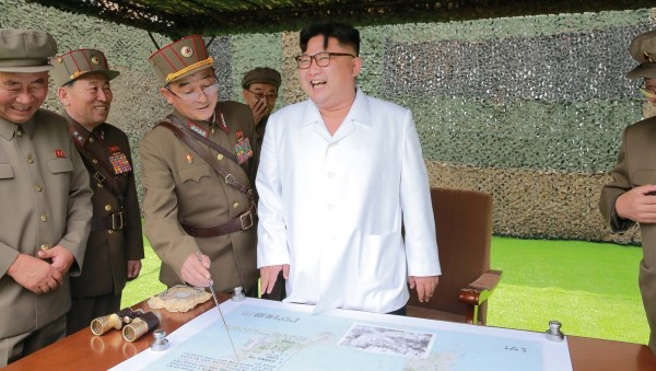 North Korean leader Kim Jong Un provides field guidance during a fire drill of ballistic rockets by Hwasong artillery units of the KPA Strategic Force, in  undated KCNA photo released Sep. 6, 2016.