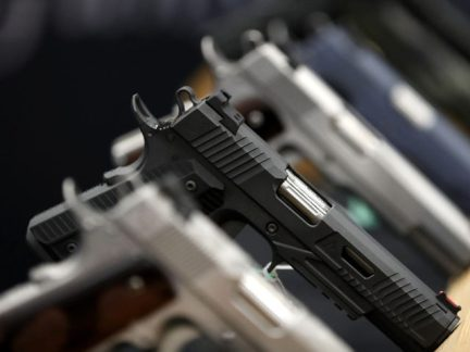 Handguns are displayed during the NRA Annual Meeting & Exhibits at the Kay Bailey Hutchison Convention Center on May 5, 2018 in Dallas, Texas. The National Rifle Association's annual meeting and exhibit runs through Sunday.