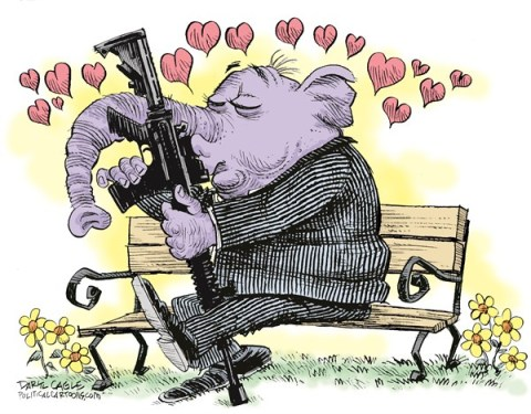 Daryl Cagle - CagleCartoons.com - GOP and Guns COLOR - English - Republicans,elephant,Senate,vote,gun control,assault rifle,AK 47,semi-automatic,rifle,park bench,flowers,hearts,GOP, gun control bill, guns, wayne lapierre