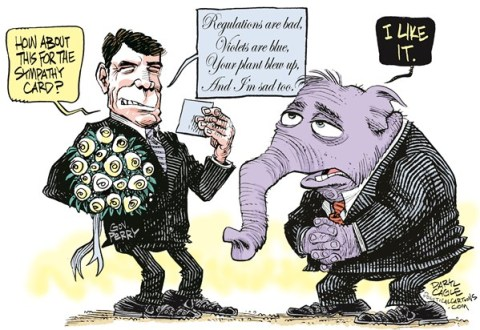 Daryl Cagle - CagleCartoons.com -  - English - Texas,Fertilizer plant,governor,sympathy card,Rick Perry,elephant,GOP,republican