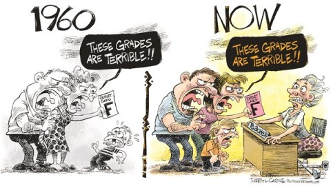 Daryl Cagle - CagleCartoons.com - Teachers Then and Now Revised COLOR - English - teachers,parents,grades,school,1960,now,report card,Education