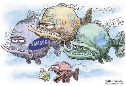 Daryl Cagle - CagleCartoons.com - Microsoft Gobbles Up Nokia - English - Microsoft,Nokia,cell phones,Samsung,Google,Apple,iPhone,windows,android