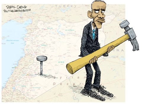 Daryl Cagle - CagleCartoons.com - Syria Problem Looks Like a Nail COLOR - English - Barack Obama, Syria, Bashar Assad, hammer, nail.middle east, civil war, military, air strikes,war with syria