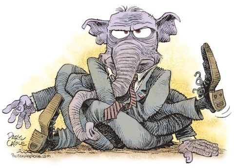 Daryl Cagle - CagleCartoons.com - GOP Tied Up in a Knot COLOR - English - Republican, elephant, tied, knot, government shutdown, debt ceiling, congress, GOP, Obamacare