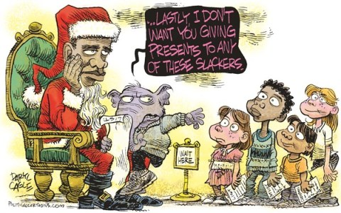 Daryl Cagle - CagleCartoons.com - Santa Obama and Slackers COLOR - English - Christmas, xmas, Santa Claus, Barack Obama, Christmas list, children, kids, presents, elephant, GOP, Republicans, holidays