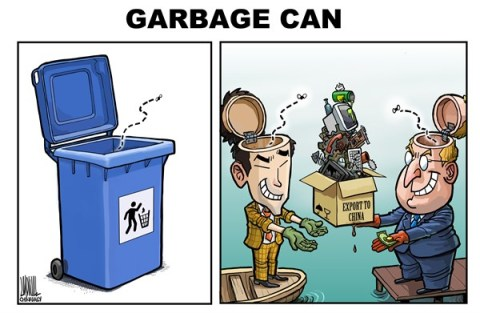 Luojie - China Daily, China - Garbage can - English - Garbage transfer,developed countries,developing countries,garbage,transfer