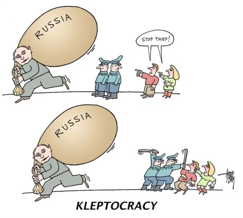 Arend Van Dam - politicalcartoons.com - kleptocracy - English - Russia, Putin, kleptocracy, stop thief
